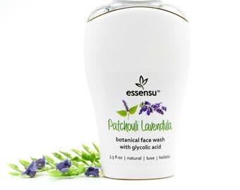 Patchouli Lavendula Glycolic Acid Renewal Anti-Age Botanical Face Wash | Blemished and Oily Skin , Aging Skin , Vegan , No Gluten - 3.5 oz