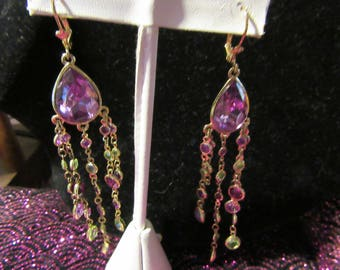 Purple Crystal Tear Drop Pierced Earrings with Multi Colored Swavorski Like Crystal Round Dangles