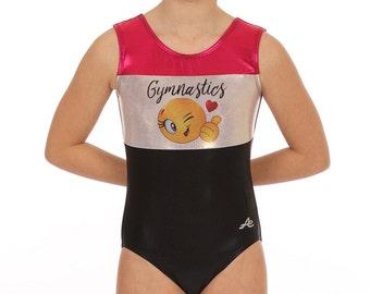 Emoji gymnastics leotard Mystique nylon spandex Fuchsia Light Gold Black Emoticon Girls Toddler adult sizes