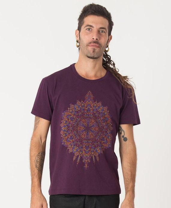 Tribal Hood Vest For Men Psychedelic Clothing Mens Festival Wear Mandala Screen Printed Uv Glow Gift For Him CNGwZ