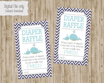 Whale Baby Shower Diaper Raffle Ticket, Whale Baby Shower, Whale Baby Diaper Raffle, Baby Shower Diaper Raffle, instant download