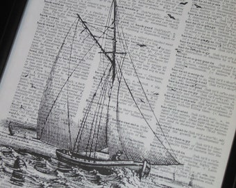 Sail Boat and Bird Dictionary Art Print Sail Boat Print Bird Print Upcycle Art Print Dictionary Page