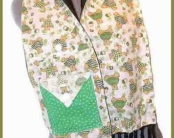 Cheery Teddies in Green Fleece Scarf, Teddy Bear Muffler, Oso Bufanda, Flannel Combination Neck Scarf