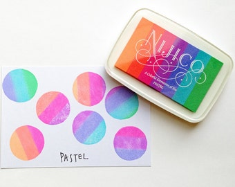 pastel nijico ink pad | tsukineko multi colored rainbow rubber stamp ink pad | water based pigment paper ink | embossing | scrapbooking