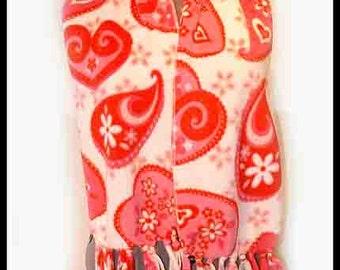 Fanciful Hearts Fleece Scarf, Holiday  Muffler,  Love Themed Bufanda, Valentine's Day