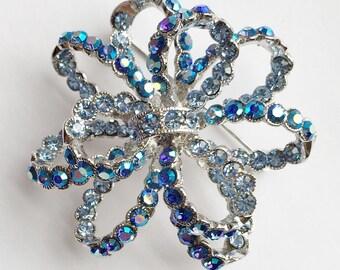 Large, Aurora Borealis Blue Rhinestones on Silver 'LOOPING RIBBON' Pin / Pendant