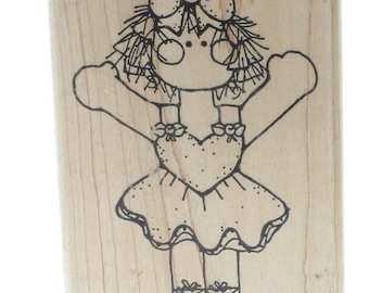 Dots Little Ballerina Dancer Girl  Wooden Rubber Stamp