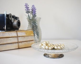 Small Crystal Glass Tray with Small Pedestal / Vintage / Antique / Cake Stand / Jewelry Tray / Key Holder / Tarnished / Feminine / Tiny