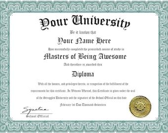 Custom Novelty Diploma