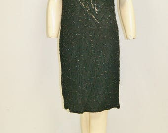 Vintage 80's 90's Silk Beaded Sequin Black Cocktail Dress - Stenay - Size 6 to 8