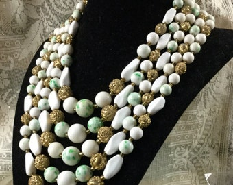 Stunning Signed Japan Five Stranded White Green Specks Glass Bead Necklace 1950's Gold Tone Mid Century Modern Multi Strand Eye Catching