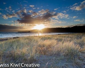 Fine art photography, photography prints, instant download wall art, Petone Beach, Wellington, NZ