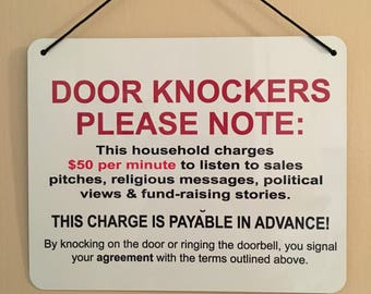 DOOR KNOCKERS Sign 8x10