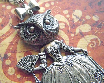 Owl Necklace Owl Girl Victorian Dark Circus Art Jewelry Vintage Inspired Style Antiqued Silver Assemblage Jewelry Bird Woman