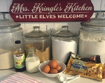 """Mrs. Kringles Kitchen/ Red and White Handpainted Wood Sign / Christmas Sign / 6"""" x 24"""" / Red Chalk Paint with White Acrylics"""