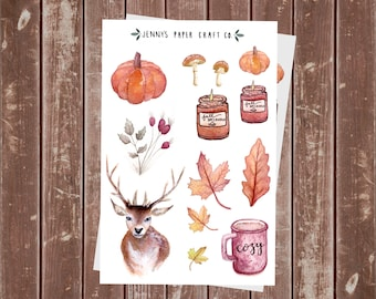 2-Pack Fall Autumn Stickers Cozy Pumpkin & Leaves for Bujo or Planner