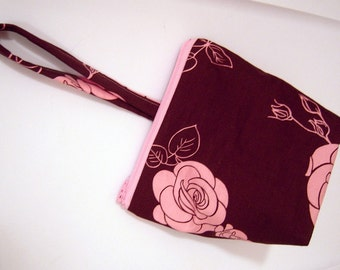 Brown and Pink Roses Flat Bottom Wristlet