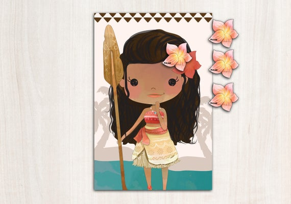 MoAna Party Game - Pin the Flower on Princess - Digital Party Game - {INSTANT DOWNLOAD}