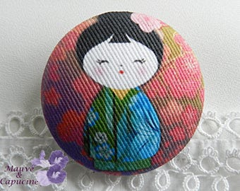 Fabric Button, Japanese Doll, 22mm / 0.86 in