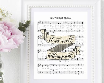 It is well with my soul 8x10 Printable Hymn Lyrics Sheet Music Print JPGs & PDFs Home Warming Gift Horatio Spafford Philip Bliss