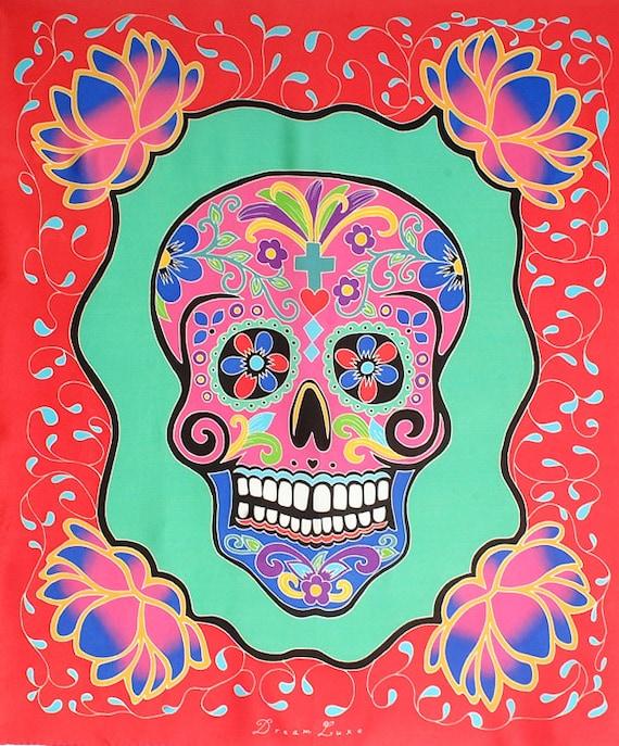 Colorful Day of the Dead skull silk scarf. Dia de los muertos