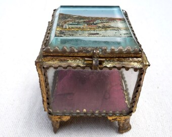 Antique French Jewelry Box Cannes France Souvenir Beveled Glass Ring Box Casket French Trinket Box