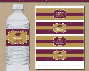 Graduation Party Decorations 2018, Maroon and Gold Graduation Water Bottle Label Template, 2018 Graduation Party Ideas, Party Supplies G1