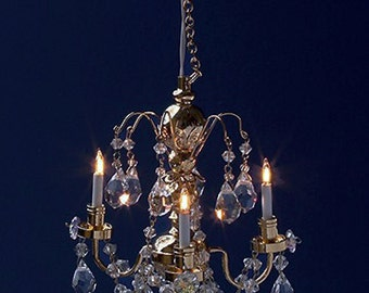 Miniature chandelier etsy 112 scale miniature 3 arm crystal chandelier aloadofball Image collections