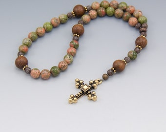 Christian Prayer Beads - Unakite Rosary with 33 Beads - Protestant - Lutheran- Episcopal - Item # 740