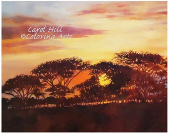 South Africa-- original oil painting of an African landscape at sundown-8x10 print-instant download, by Carol Hill
