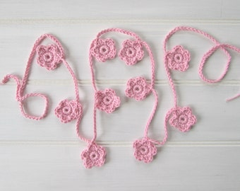 Pink Flower Garland, Crochet Flower Garland, Crochet Flower Bunting, Pretty Flower Garland, Crocheted Flower Garland