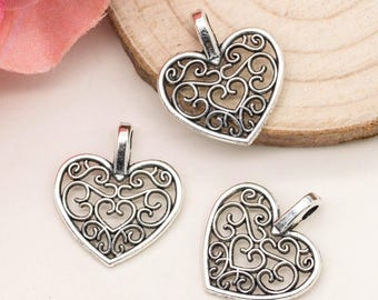 Heart  Charm,  Silver Heart Pendant,  20pcs, 15x17mm, Valentines Day  Charms - C987