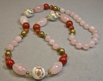Vintage Rose Quartz Bead Hand Knotted Necklace,Vintage Red Jasper Beads, Vintage Chinese White Gold Porcelain Koi Fish Beads