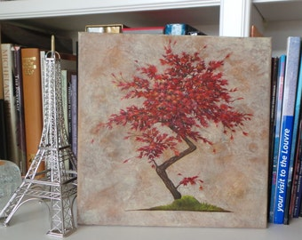 """Japanese Maple Bonsi, Oil Painting on Gallery Wrapped Canvas, 12"""" x 12"""""""