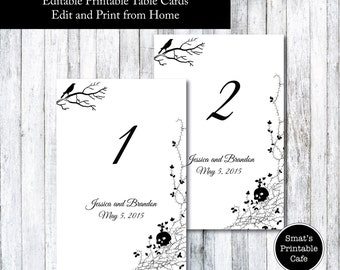 halloween wedding table cards template diy printable gothic skull theme editable edit in