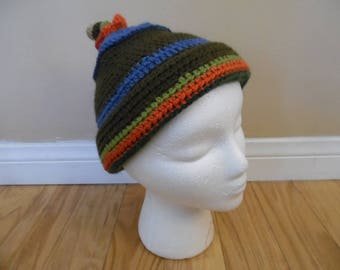 Hand Made Striped Crocheted Beanie Cap with Acorn Tassel; Multi Colored Horizontal Stripe Beanie, Crochet Hat by Sofi Handknits