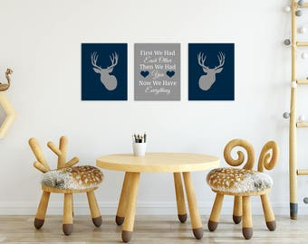 Deer Nursery Decor - - Deer Nursery - Deer Decor - Deer Nursery Art - Baby Boy Deer Nursery Decor - First We Had Each Quote