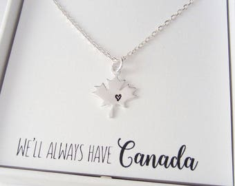 Maple Leaf Necklace - Maple Leaf Heart Charm - We'll Always Have Canada - 925 Sterling Silver Jewelry - Everyday Necklace