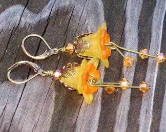 Vintaj Honey and Orange Lily Flower Earrings