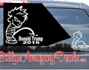 Calvin Piss Pee on Donald Trump Vinyl Decal Car Truck Window Republican Party Election 2016 POTUS President GOP Sticker