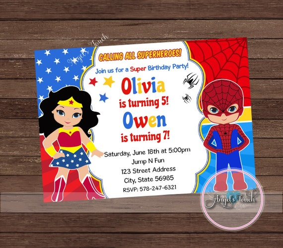 Wonder woman and spiderman party invitation wonder woman and spider wonder woman and spiderman party invitation wonder woman and spider man invitation wonder woman and spider man invitation digital file from solutioingenieria Images