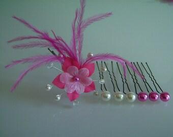 Pins/jewelry/pins/clips/bun hair accessory set pr dress bridal/wedding/party/Ceremonierose Fuchsia/ivory flower feather (cheap)