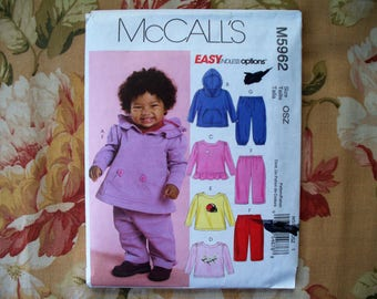 Baby Clothes Pattern Size Newborn Small Medium Large Infant Hoodies Tops Pants Pattern McCalls M5962 Uncut Easy Baby Clothes Pattern