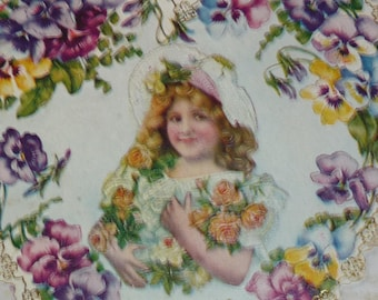 Pretty Girl With Bouquet of Roses   Surrounded by Border of Pansies Antique Valentine