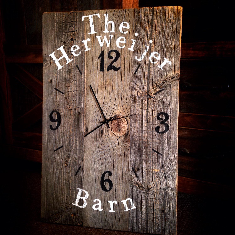 Reclaimed barnwood wall clock custom barn wood clock large