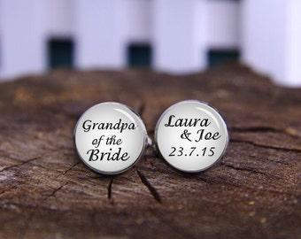 Custom date cufflinks, grandpa of the bride cuff links, Silver Plated Gifts for Grandpa, Wedding Cufflinks, Groom Cufflinks, Wedding gifts