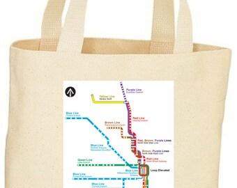Chicago train map L train tote bag
