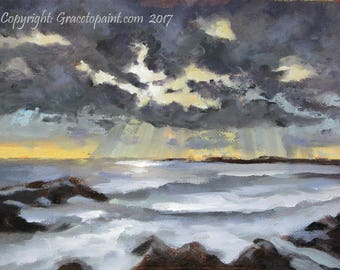 Floodlights...Original Oil Painting by Maresa Lilley, SND