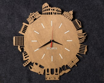 Rome clock - wooden wall clock - Italian architecture - lasercut - birthday gift