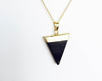 Black oynx geometric pendant necklace gold dipped